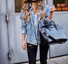 Street Style 2016/2017 - streetstyleplatform: Denim Jacket Skinny Jeans