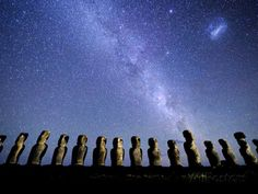 Easter Island, Chile, Posters and Art Prints -  Night Sky over the Easter Island Monoliths