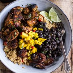 Cuban Chicken and Black Bean Quinoa Bowls with Fried Bananas + Spicy Mangos {recipe}