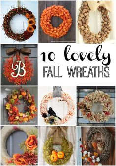 10 Lovely Fall Wreaths - Reasons To Skip The Housework Diy Fall Wreath, Wreath Crafts, Fall Wreaths, Decor Crafts, Diy Crafts, Wreath Ideas, Door Wreaths, Floral Wreaths, Summer Wreath