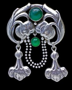 This is not contemporary - image from a gallery of vintage and/or antique objects. BERNARD HERTZ  Skonvirke Brooch  Silver Chalcedony