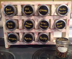 Mason jar spice rack with a crackle finish