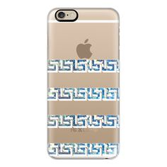 Bokeh Greek Key - iPhone 6s Case,iPhone 6 Case,iPhone 6s Plus... ($40) ❤ liked on Polyvore featuring accessories, tech accessories, iphone case, iphone cover case, apple iphone cases, iphone cases, slim iphone case and clear iphone cases