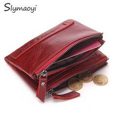 Slymaoyi Brand Women Wallets Genuine Leather Wallet Card Holder Short Coin Purse Pockets Clutch with Zipper Womens Wallet