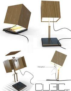 Articulating Secret: Wood Cube Shade Conceals Desk Lamp