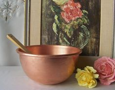 Vintage Copper Mixing Bowl Heavy Duty Copper Bowl by CynthiasAttic