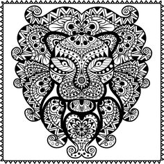 Free coloring page coloring adult difficult lion head adult