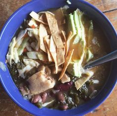 Tamal soup with kale, avocado and beans