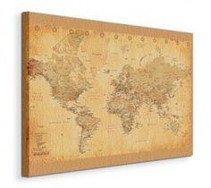 World Map - (Vintage Style) - Obraz na płótnie