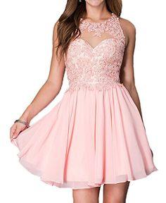 Lovelybride Sweet Appliques Beaded Short Chiffon Homecoming Prom Dress