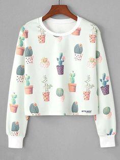Fashion Hoodie Women Ladies cactus Sweatshirt O-Neck Botany sportswear Long Sleeve Crop Pront Blouse shirt Pullover Tops Green Girls Fashion Clothes, Teen Fashion Outfits, Cute Fashion, Outfits For Teens, Stylish Hoodies, Kawaii Clothes, Printed Sweatshirts, Fashion Sweatshirts, Cute Casual Outfits