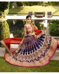 Blue & Red Heavy Embroidered Lehenga