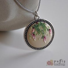 Needle felted necklace with ha