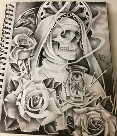 Santa Muerte drawing by Lettrage Chicano, Chicano Art Tattoos, Chicano Drawings, Badass Drawings, Skull Tattoos, Body Art Tattoos, Arte Cholo, Cholo Art, Tattoo Design Drawings