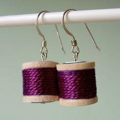 Earrings  Spools of Thread in Plum by madeinlowell on Etsy, $18.00
