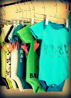 Repurposed adult tees morphed into adorable onesies... one of the coolest baby gifts in TO.