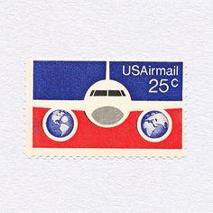 US Airmail, Plane & Globes (25¢). USA, 1976. Design: David G. Foote. #mnh #graphilately