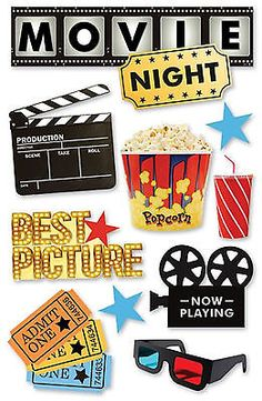 Paper House MOVIE NIGHT 3-D Multi-Layered Stickers scrapbooking POPCORN TICKETS
