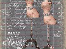 Bügelbild Kleiderpuppe Rose Vintage Shabby 1729