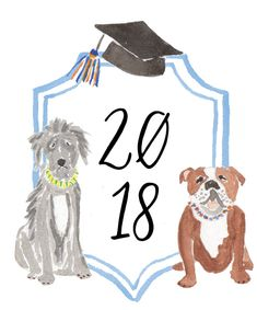 Custom crest for graduation. Irish wolfhounds and Bulldogs. Custom illustration and invitations by dizzy daisy designs Sublimation Mugs, Class Of 2019, Personal Logo, Family Crest, Crests, Monogram Logo, Daisy, Irish Wolfhounds, Teddy Bear
