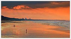 Saltburn beach, looking towards Redcar, North Yorkshire, England.