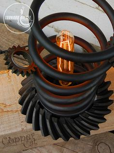 "Nice Tornado Spring and Gears Table Lamp  #DIY #Edison #Farmhouse #Handmade #Industrial #Metal #Recycled #Rustic #Steampunk #Steel #Vintage ""Tornado"" conceptual project from the ""C.C.A.G."" where we attempted to combine light and metal in the united compositions of frozen momentum. Soft adj..."