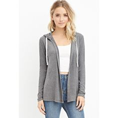 Forever 21 Women's  Drawstring Hooded Cardigan (100 VEF) ❤ liked on Polyvore featuring tops, cardigans, forever 21 tops, forever 21, full length cardigan, long sleeve open front cardigan et long sleeve tops