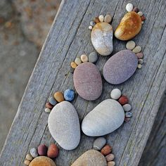 what a cute idea - rock footprints