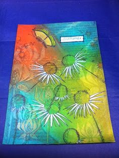ARTY INKLINGS Layered Frescoes and stamped, painted JoFY daisies. www.artyinklings.blogspot.co.uk/2013/08/here-it-is-summer-challenge.html#links