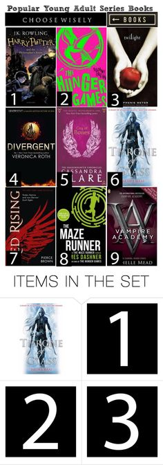 """""""Popular Young Adult Series Books"""" by hangar-knjiga ❤ liked on Polyvore featuring art, book, reading, books, bookworm and youngadult"""