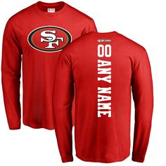 buy popular 40c15 71554 Men s NFL Pro Line Red San Francisco 49ers Personalized Backer Long Sleeve  T-Shirt