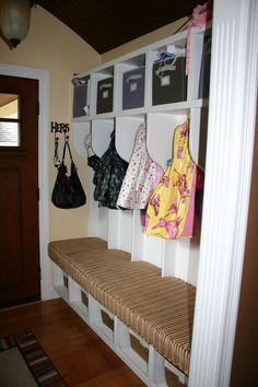 Organized foyer with fabulous seat cushion. Entryway Organization, Organization Ideas, Organizing, Foyer Ideas, Custom Window Treatments, Seat Cushions, Playroom, Remodeling, Entrance