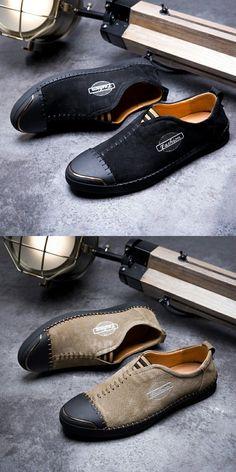 $28.98 <Click to buy> Men Split Leather Slip On Shoes