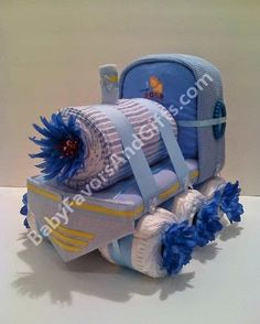 Unique Diaper Cakes, Baby shower gifts, centerpieces, table decorations, favors: Choo Choo Train Diaper Cake/Centerpiece/Baby shower gifts
