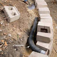 Drain layout for wall.... great idea to replace failing wood wall. Gradually,  in 16ft increments.
