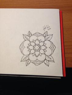geometric flower tattoo #tattoo sketch #tattoo idea #neo traditional tattoo sketch