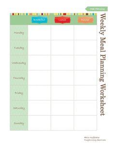 Free Household Notebook with 36 Printables: Weekly Meal Plan Worksheet