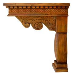 Carved Stove Hood Surround Constructed with antique carved corbels and fragments. Stove Hoods, Solid Wood Kitchens, Rustic Kitchen Cabinets, Entryway Tables, Kitchen Design, Carving, Contemporary, The Originals, Antiques