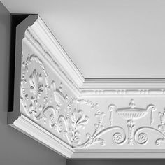 """C308 Crown Molding, Primed White. Face: 10-1/8"""" Length: 78-3/4"""" ____________________________ Request Your FREE Catalog: http://form.outwater.com/oracusa.php"""