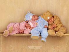 Anne Geddes Sleeping Teddy Bear Babies