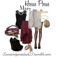 Hocus Pocus: Mary by loveandpixiedust featuring leaf jewelry Disney Bound Outfits, Disney Inspired Outfits, Disney Style, Fall Outfits, Casual Outfits, Fashion Outfits, Disney Fashion, Hocus Pocus Halloween Costumes, Disney Halloween