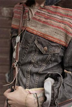 Inspired pattern mixed with denim for Mens