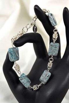 Picasso Jasper Sterling Silver Chainmaille Bracelet