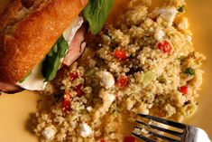 This healthy couscous salad recipe has a zippy hummus dressing mixed in with red bell pepper, pistachios, mint, and feta cheese.