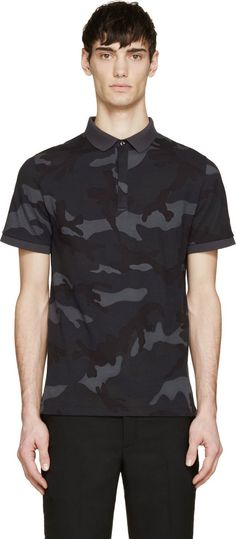 Valentino Grey & Blue Camouflage Polo