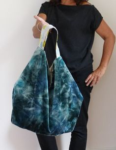Unique green and turqoise velvet Fabric Bag  Soft by vquadroitaly