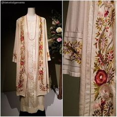 1920s style coat and dress worn by Cora Crawley, Countess of Grantham, at a wedding. The coat was made from a true vintage 1920s tablecloth.