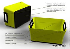 WashWash design concept for eva solo a/s  Innovative dish washing tub that folds to 1/3 it's size.