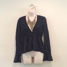 NEW without tags navy blue Free People boho blouse Brand new without tags navy blue free people boho blouse with bell sleeves. Button down. Perfect for a summer night! Free People Tops Blouses