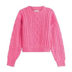 Chunky Knit Sweaters for Women Fall-Winter 2015-2016 ❤ liked on Polyvore featuring tops, sweaters, loose tops, pink top, loose sweaters, thick knit sweater and cut loose tops